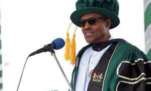 PRESIDENT BUHARI HONOURED BY KADUNA STATE UNIVERSITY. 7.  President Muhammadu Buhari (addressing the students during the 2nd convocation of Kaduna State University in Kaduna, PHOTO; SUNDAY AGHAEZE. DEC 12 2015.